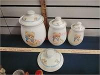Ceramic canister set, glassware, figurines