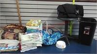 Table clothes, linens, afgan, stool & trash can