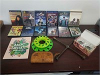 Lot movies, crystal candle holders, more.