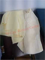 Vintage table linens, doilies, dresses, apron,