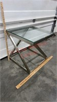 >> Glass Top Aluminum End Table