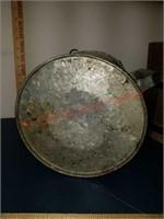 Vintage wood bucket & galvanized watering can