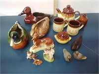 Planters, pottery, wood decor & steins