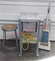 Shop table & stool, Hoover vacuum