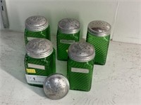 (5) Hoosier-Style Swirl-Green S/P Shakers
