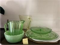 Yellow/Green/Pink Depression Glassware