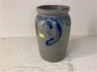 Antique Blue-Slip Decorated Glazed Stoneware Jar