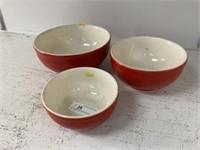 Vintage Red-Glazed Ovenproof Nesting Bowls