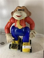 Vintage Battery-Operated Plastic Monkey on Roller