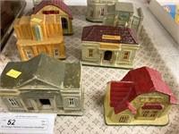 (8) Vintage Painted Composition Buildings