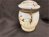 Antique Enameled Handpainted Biscuit Jar