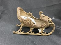 Vintage Cast Metal Ornate Sleigh w/Eagle Finials
