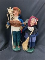 (2) Byers' Choice Figurines-Holding Basket, Broom