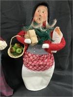 (2) Byers' Choice Figurines-Lady/Apple Cart/Etc.