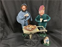 (2) Byers' Choice Figurines/Cart/Dog