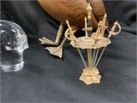 Brass/Wooden Duck, Spode Glass Bird Head,