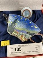 Cloisonne-Style Painted Teapot w/Pottery Tea Set