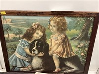 Vintage Framed Print of 2 Young Girls w/Dog