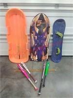 Sleds, snow boards & baseball bats