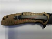 NEW w/ box Schrade folding pocket knife - tan