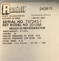 Randell Reach In Refrigerator 2010M