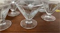 Glass Pitcher with Glasses, Sherbet Dishes, & More