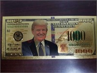 2020 Trump novelty gold coin & $1000 bill.