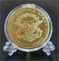 2020 Trump novelty gold coin & $1000 bill.