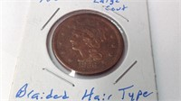 1856 large cent braided hair type