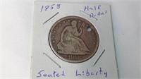 1858 seated liberty half dollar holed