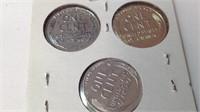 Three steel war pennies