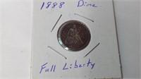 1888 full liberty dime