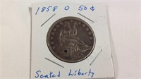 1850 o seated liberty half dollar