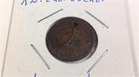 Knickerbocker one cent token holed