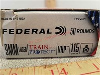 50 rds Federal 9 mm versatile hollow point VHP