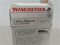 20 rds Winchester 7.62 x39 ammo ammunition FMJ