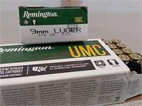 100 rds Remington UMC 9 mm ammo ammunition FMJ