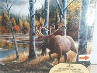 New LED lighted canvas art cabin wildlife picture
