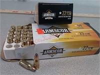 100 rds Armscor 22 TCM ammo ammunition jacketed