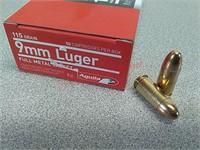 50 rds Aguila 9 mm ammo ammunition FMJ