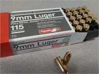 50 rds Aguila 9 mm ammo ammunition FMJ