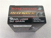 20 rds Winchester Defender 9mm JHP ammo