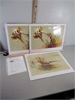3 pheasant artwork prints by Mardon signed and