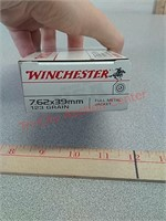 20 rds 7.62 x 39 fmj Winchester ammo ammunition