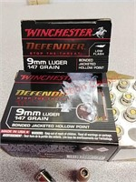40 rds Winchester Defender 9 mm jhp ammo