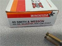 50 rds Winchester Super X 40 S&W jhp ammo