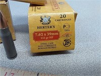 60 rds Herter's 7.62 x 39 ammo ammunition