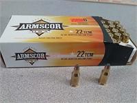 50 rounds Armscor 22 TCM JHP ammo ammunition