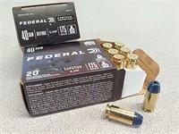 40 rds Federal 40 S&W jhp Syntech defense ammo