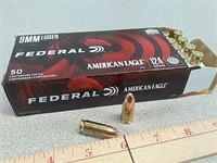 50 rds Federal 9 mm FMJ ammo ammunition